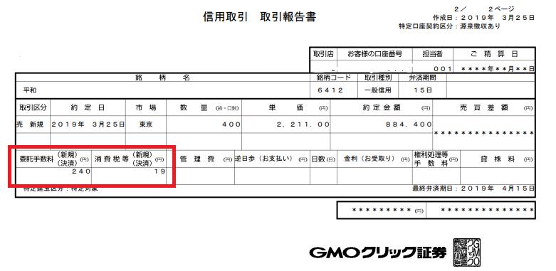 heiwa信用取引報告書