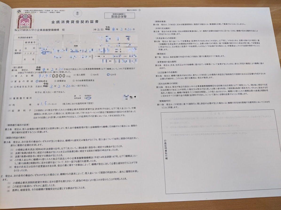 金銭消費貸借契約証書